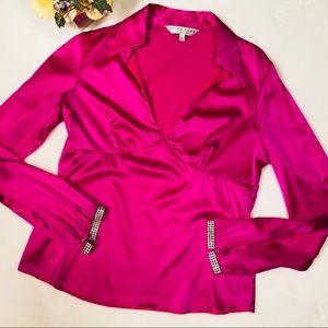 Trina Turk Hot Pink Silk Jewel Cuff Blouse